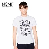 NSNF手绘字母排列印花白色纯棉圆领T恤男修身 短袖t恤男装2017新款