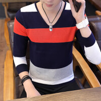 秋季长袖T恤男士毛衣青少年V领套头条纹针织衫韩版潮流学生毛线衣