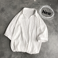 V领五分袖衬衫男士 日系潮流休闲胖人大码宽松条纹短袖衬衣涂 M 95-110斤