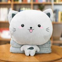 猫咪午睡枕头汽车抱枕被子两用暖手绒腰靠枕靠垫空调被毯子三合一