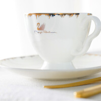 骨瓷咖啡杯套装结婚*杯具家用欧式茶具下午茶茶具套装 天鹅湖15头 15件