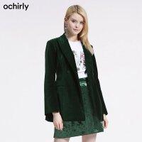 [9月12日3件7折到手价:334元]ochirly欧时力新女秋装纯色翻驳领绒面西装外套1GY3041210
