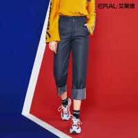 艾莱依2019冬季新款宽松个性裤脚设计保暖羽绒裤女外穿601809001