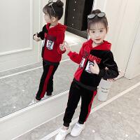 女童秋装2018新款韩版童装连帽撞色上衣裤子套装中大童儿童两件套