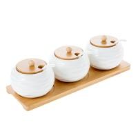 竹底陶瓷调味罐调料盒套装 带架子盐罐调味瓶调料罐佐料盒