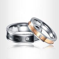 相思树 情侣戒指一对 女学生饰品日韩版黑色对戒子男简约刻字指环可做项链情人节礼物