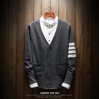 秋装TB四条杠情侣毛衣个性针织开衫男针织衫韩版潮流V领线衣外套