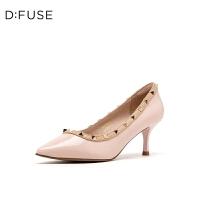 【领券减100】DFUSE/迪芙斯2019秋季新款铆钉装饰尖头细高跟单鞋女DF93111916
