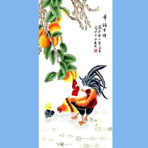 当代工笔画画家,北京九久书画收藏文化交流中心画家,北京美协会员,北京著名工笔画画家凌雪(幸福吉祥斗方)
