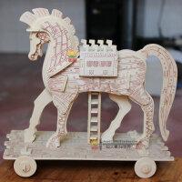 3D木质木制动物积木成人立体拼图 木头拼装模型智力玩具精工木马
