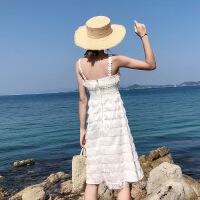 普吉岛沙滩裙女海边度假裙子夏巴厘岛泰国显瘦白色超仙吊带连衣裙 白色