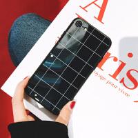 苹果6plus手机壳玻璃镜面iphone8/7/6s/x后壳简约大气男女款格子