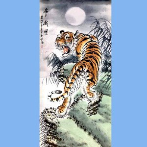 中国美协会员,西安市美术家协会副主席谭乐丹(虎威图)