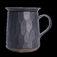 陶瓷过滤茶杯简约大容量马克杯带盖茶水分离功夫泡茶杯创意杯子 切面杯环保装(赠茶巾+发顺丰)