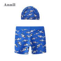 【2件3折价:41.7】安奈儿童装男童泳裤2020夏季新款卡通印花活力平角泳裤泳帽