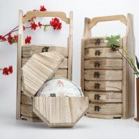 茶叶木盒茶罐实木多层普洱茶包装礼盒木质茶盘七层茶盒 图片色