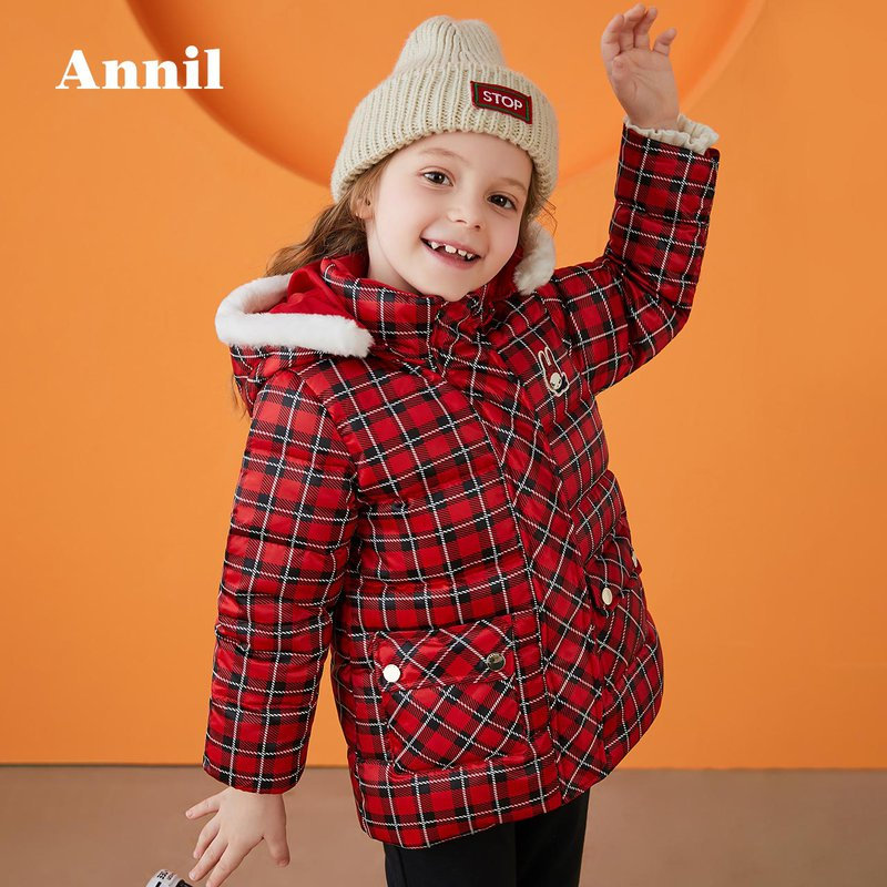 【3件3折:209.7】安奈儿童装女童带帽中长款羽绒服2019冬装新款 经典格纹款式,大牌即时感