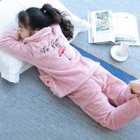 儿童睡衣厚款秋冬季女童家居服套装法兰绒珊瑚绒宝宝冬天中大童