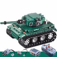 兼容积木男孩子拼装坦克模型机械6军事7电动遥控车玩具8-10岁