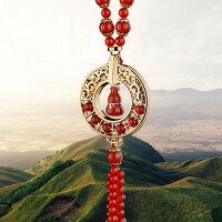 汽车挂件饰品红玛瑙镶玉汽车挂饰手链挂件平安果宝葫芦