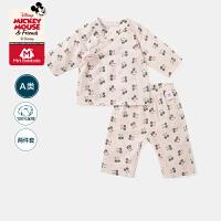 迷你巴拉巴拉婴儿纯棉长袖内衣套装2020夏季透气可爱米奇印花