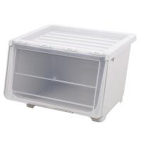 前开式玩具收纳箱塑料透明厨房储物箱侧开门儿童零食收纳盒整理箱 北欧白 加大号(买翻盖箱) 三个装 值哭了