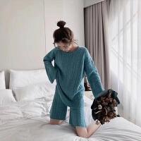 秋冬潮小清新麻花毛衣套装女超火的洋气小香风针织短裤两件套 均码