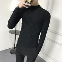 新款半高领毛衣男韩版潮流个性修身纯色男士打底衫男套头针织衫男 黑色 24小时发货