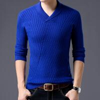 秋冬季青年男士针织毛衣加厚羊毛衫纯色中年修身保暖V领打底衫男 蓝色 【羊毛】 165 M