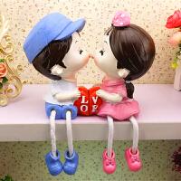 吊脚娃娃摆件 儿童房间酒柜电视柜装饰品摆设创意吊脚娃娃家居小摆件 桔红色 亲嘴娃娃