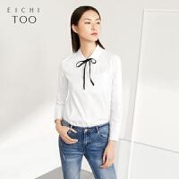 爱居兔春秋女装上衣蝴蝶结系带时尚白色微弹长袖休闲衬衫