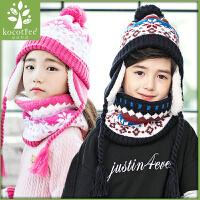 2018新款儿童帽子围巾套装秋冬护耳保暖帽子围巾套装围脖男孩女孩