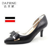 Daphne/达芙妮蝴蝶结婚鞋头层羊皮细跟尖头优雅单鞋