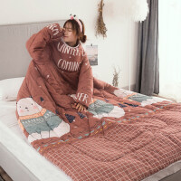 懒人被子儿童 懒人被子冬袖被儿童防踢被冬天多功能保暖可穿被芯子休闲沙发盖被 120x160cm(懒人带袖被 可穿 儿童
