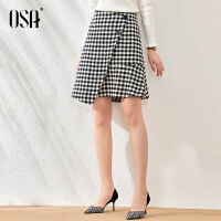 OSA高腰毛呢短裙不规则格子半身裙女春秋季2021年新款时尚a字裙子