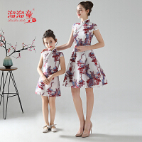 女童洋气修身旗袍礼服夏季亲子装旗袍母女装短袖时尚连衣裙