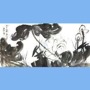 中国现代著名的画家,泼墨画家,书法家张大千(含苞待放)