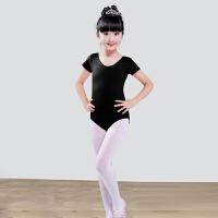 儿童舞蹈服装女练功服演出服短长袖芭蕾舞裙棉健美操连体紧身衣 黑色 6020裤装短袖 身高80cm