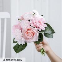 仿真花束假花客厅装饰摆件北欧绢花餐桌花玫瑰花套装花艺摆设