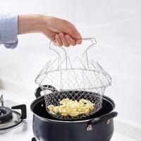 不锈钢油炸大滤网厨房沥水篮 家用滤油网漏网勺折叠过滤网