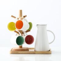 创意陶瓷水具家用水杯水壶杯子套装居家杯具茶具茶杯带架托盘