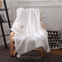 冬季加厚保暖珊瑚绒毛毯白色盖毯粉单人盖腿小毯子ins灰