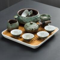日式功夫茶具套装整套茶盘家用简约陶瓷茶杯茶壶粗陶现代办公客厅 +茶洗+茶盘