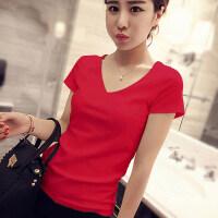 大红色v领T恤女短袖修身显瘦夏色鸡心领紧身体恤上衣糖果色