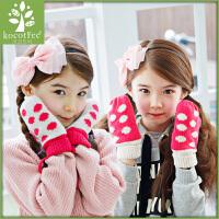 韩版儿童手套女童保暖冬季学生手套可爱加厚小孩手套秋冬款潮