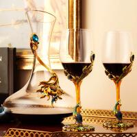 孔雀红酒杯珐琅彩居家酒具套装高脚杯欧式葡萄酒杯