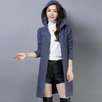 女装针织外套中长款外搭开衫披肩2019新款韩版针织衫女宽松连帽长袖毛衣外套潮