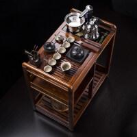 花梨木茶车乌金石实木可移动带轮茶台水柜茶盘桌整套茶具套装 2件