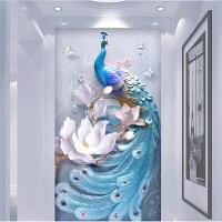 孔雀画浮雕壁画 3d立体浮雕孔雀墙纸壁画玄关壁纸客厅电视背景墙壁画餐厅过道走廊 墙纸+专用胶水