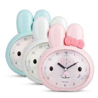 得力8803兔子可爱懒人闹钟静音闪光灯儿童小闹钟三色走时精准
